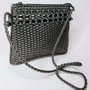 Tianni Grey Metallic Woven Crossbody Purse